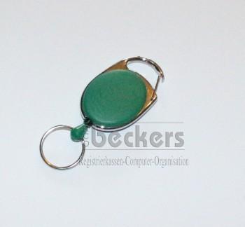 1 Stück Kartenhalter Jojo Oval mit Schlüsselring grün