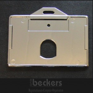 Offener Kartenhalter RFID Schutz silber chrom quer