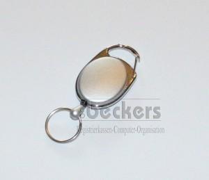 1 Stück Kartenhalter Jojo Oval mit Schlüsselring silber