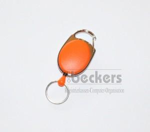 1 Stück Kartenhalter Jojo Oval mit Schlüsselring orange
