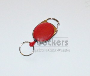 1 Stück Kartenhalter Jojo Oval mit Schlüsselring rot
